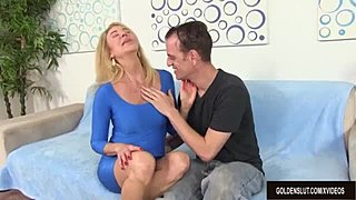 Randy Granny Erica Lauren Sucks on a prick and Then Takes It Up Her vagina